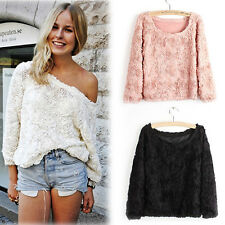 S M L Women's Lace Rose Floral 3D Mesh Pullover Jumper Top Sweater Shirt Blouse