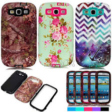 Armor Pattern Printed Skin Dual Layer Hybrid Matte Cases For Samsung Galaxy S3