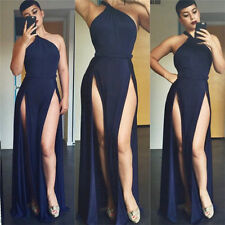 New Maxi Dress Beach Black Womens Sexy One Shoulder Open Side Party Club Dresses
