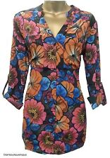 BN NEXT FLORAL PRINT TUNIC SHIRT BLOUSE TOP WITH POCKETS SIZE 8 10 12 14 16