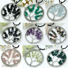 1pc Life Tree Natural Gemstone Chips Stone Bead Wrap Round Pendant For Necklace