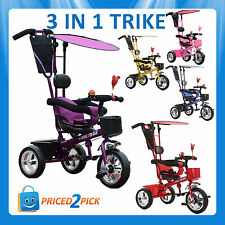 Childrens Kids Toddlers 3 In 1 Tricycle Bike Smart Trike with Parent Handle Push
