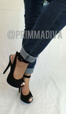 BLACK PEEP TOE CUT OUT HIGH HEEL BOOTIES LACE UP STILETTOS ANKLE STRAP SLINGBACK