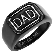 Willis Judd Mens Stainless Steel DAD Ring Engraved Love You Dad Free Ring Box