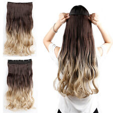 """23"""" 3/4 Full Head Clip in on Hair Extensions Ombre One Piece Wavy Curly Dip Dye"""
