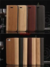 Wooden Pattern Leather Credit Card Slot Wallet Purse Flip Stand Case Cover Pouch