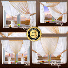 German Voile Curtain with String Panel Ready Made Tiebacks included