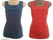BN NEXT NAVY ORANGE WHITE COTTON EMBELLISHED EMBROIDERED VEST CAMI TOP SZ 8 ~ 22