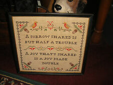 Vintage Needlepoint Sampler-A Sorrow Shared Is But Half A Trouble-Birds-LQQK