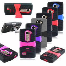 Armor Rugged Hybrid Shockproof Skin Rubber Hard Stand Cover Case for LG Leon C40