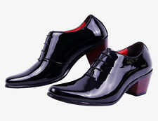 Lin01 Mens Lace-Up pointed toe British style cuban heels dress formal shoes size