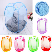 1x Foldable Pop Up Washing Clothes Laundry Basket Bag Bin Hamper Mesh Storage