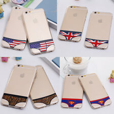 For Lovers Couple Briefs Bikini Clear Soft Back Case Cover For iPhone 5/6/6 Plus
