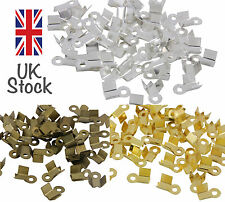 100 x Silver Plated, Gold or Bronze 9mm Folding Clamp End Tip Jewellery Craft