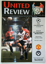 MANCHESTER UNITED V FC GIRONDIS BORDEAUX  Match Day Football Programme 2001