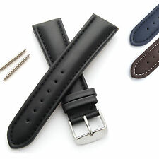 Mens Padded Leather Watch Strap/Band - Buckle and Spring Bars - M or XL Length