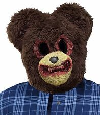 Psycho Bear Mask Scary Bloody Mouth Furry Head Fancy Dress Costume Adult Mens