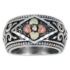 12K ROSE & GREEN BLACK HILLS GOLD ON STERLING SILVER WOMENS LADIES RING