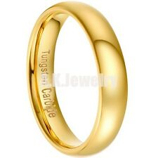 18K Gold Plated Tungsten Carbide Wedding Band Mens Women Ring Dome NEW Size 5-13