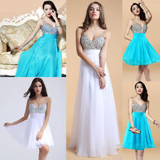 White SEXY Beaded long Short WEDDING Bridesmaid Ball Evening Party prom dresses