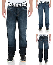 Crosshatch Fashion Jeans Mens New Straight Fit Vintage Faded Denim Pants Hornet