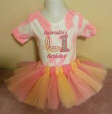 Pink and Yellow Girl Baby First Birthday One Piece and Tutu Set