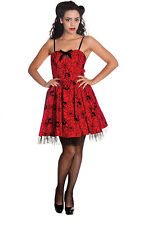 Hell Bunny Gothic Red Black Rockabilly 50's Spider Tulle Mary Jane Mini Dress
