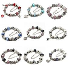 Completed European Charm Bracelet Murano Glass CZ Crystal Beads Silver & Gold /P