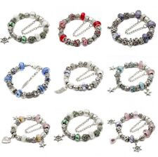Completed European Charm Bracelet Czech Crystal Murano Glass Beads Silver Gold/P