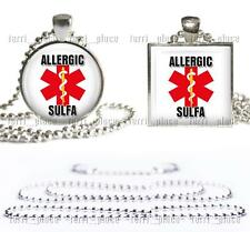 "Allergic to Sulfa Medical Alert Necklace Glass Top Pendant with 24"" Ball Chain"