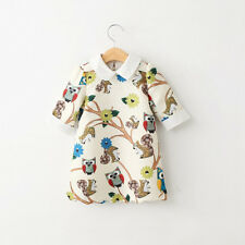 Baby Girls Print Owl Cotton Princess Casual Party Dress Outwear Kids Clothing HT