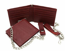 Bifold Genuine Leather Reddish Brown Plain Wallet with a Chain - 8 card slots
