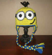 Two-Eyed Minion Ear Flap Hat - Newborn to Adult Sizes - Hand-Crocheted