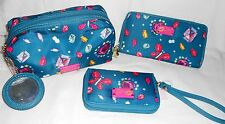 Betsey Johnson TEAL Multi-color SHAPES Cosmetic Bag, Wallet OR Iphone Wristlet