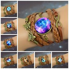 Space Star Animals Flower Clock Glass Dome Cabochons Weave leather Bracelets hot