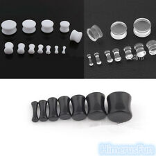Body Piercing Double Flare Acrylic Solid Saddle Ear Tunnels Plugs Earlets Gauges