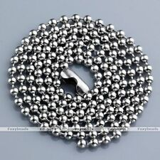 1pc 2mm Stainless Steel Ball Beads Chain Necklace Solid Metal Fit Pendant Charm