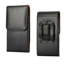 Black PU Leather Belt Clip Holster Case Cover Carrying Pouch for latest phones