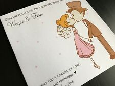 Handmade Personalised Congratulations On Your Wedding Day Card -  Cute Coupl