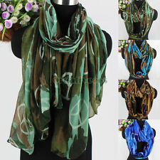 Fashion Women's Camouflage&Peace Icon Print Soft Casual Long/Infinity Scarf New