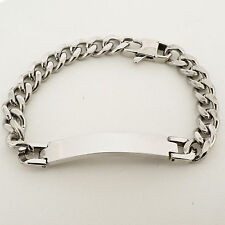 Unisex Personalised SILVER Steel ID Curb Link Bracelet with FREE ENGRAVING