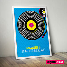 Madness It Must Be Love Song Lyrics poster print. Unframed wall art. 2 Sizes.