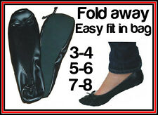 BLACK LADIES ROLL FOLD UP FOLDABLE PUMPS FLATS IN BAG AFTER PARTY SHOES POCKET