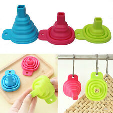 Practical Silicone Gel Collapsible Foldable Funnel Hopper Kitchen Gadget Tool