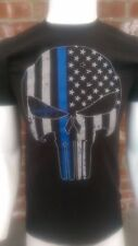 Thin Blue Line t-shirt USA flag Punisher Skull tactical 100% cotton Police