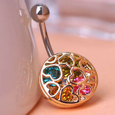 Navel Belly Bars Austrian Crystal Dangly Body Piercing belly Button Ring  heart