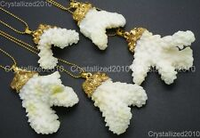 Natural White Sea Coral Gemstone Pendant Charm Necklace Healing Beads 18K Gold