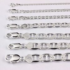 Mens Womens Solid 925 Sterling Silver Mariner Link Bracelet Chain Necklace Italy