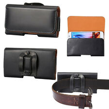 Black General PU Leather Belt Clip Holster Case Carrying Pouch for Cellphones
