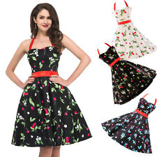 DISCOUNT CHEAP~Vintage Style Halter Swing 50s Housewife Rockabilly Evening Dress